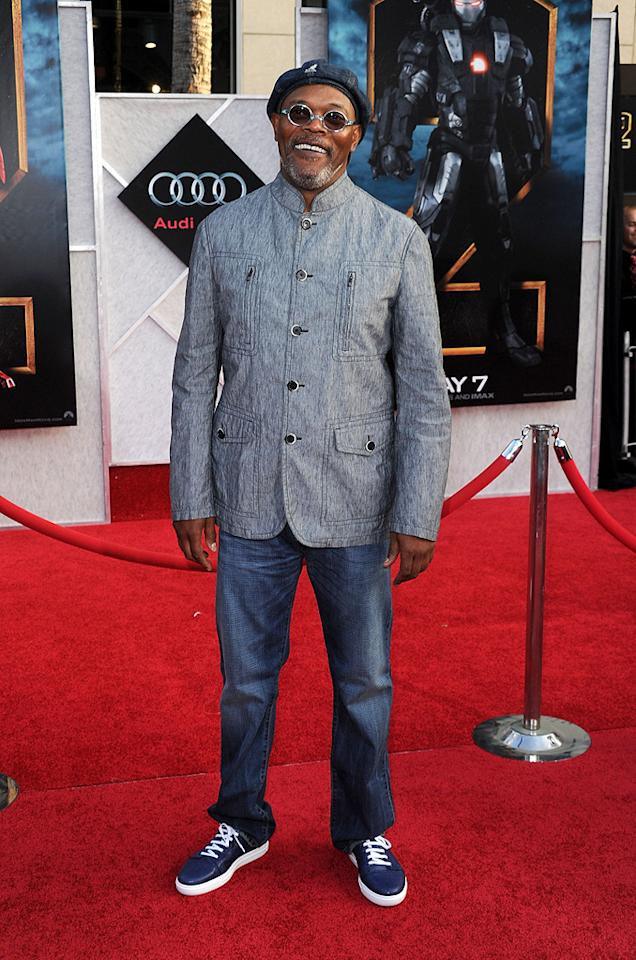 """<a href=""""http://movies.yahoo.com/movie/contributor/1800018848"""">Samuel L. Jackson</a> at the Los Angeles premiere of <a href=""""http://movies.yahoo.com/movie/1810026429/info"""">Iron Man 2</a> - 04/26/2010"""
