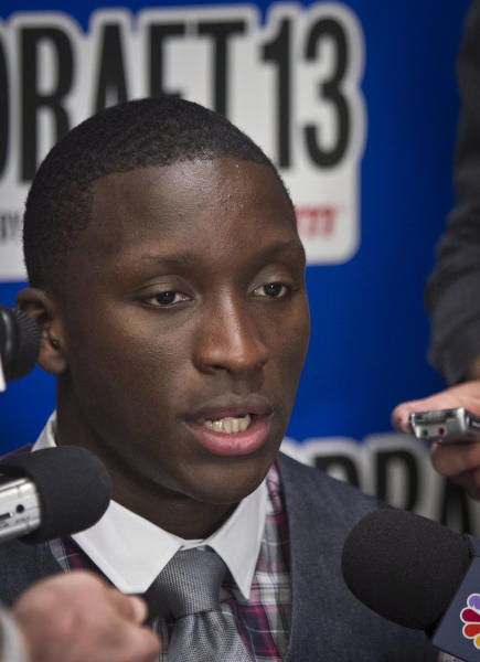 Indiana's Victor Oladipo speaks during a press availability for NBA basketball draft prospects on Wednesday, June 26, 2013 in New York. (AP Photo/Bebeto Matthews)