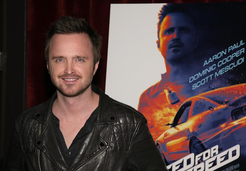 """Actor Aaron Paul attends a screening of """"Need For Speed"""" on Tuesday, March 11, 2014, in New York. (Photo by Andy Kropa/Invision/AP)"""