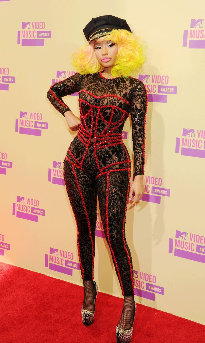 <p>Nicki Minaj gave the illusion of a corset in this clever, sequinned design.</p>