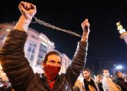Supporters of Georgian ex-president Mikheil Saakashvili hold a rally in Tbilisi