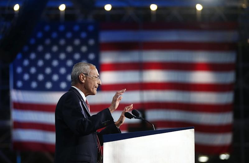 John Podesta, chairman of the 2016 Hillary Clinton presidential campaign, addresses the crowd at Democratic U.S. presidential nominee Hillary Clinton's election night rally in New York, U.S., November 9, 2016. REUTERS/Carlos Barria