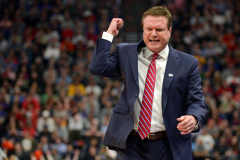 Kansas Jayhawks head coach Bill Self reacts during the first half in the second round of the 2019 NCAA Tournament. (USAT)