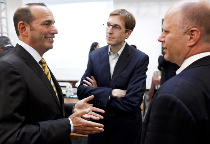 Jay Berhalter, center, reportedly held a meeting about technical areas without Jurgen Klinsmann. (AP Images)