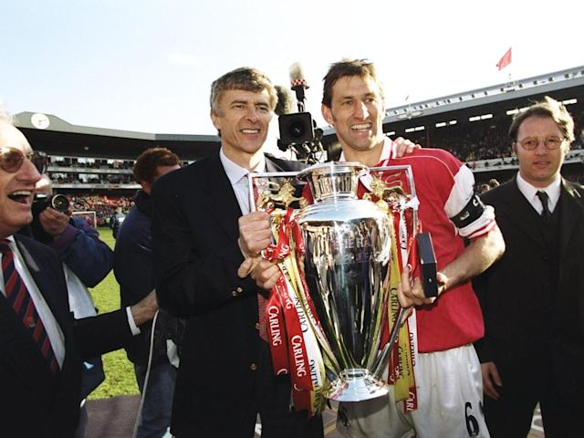 The glory days: Wenger and club captain Tony Adams (Getty)