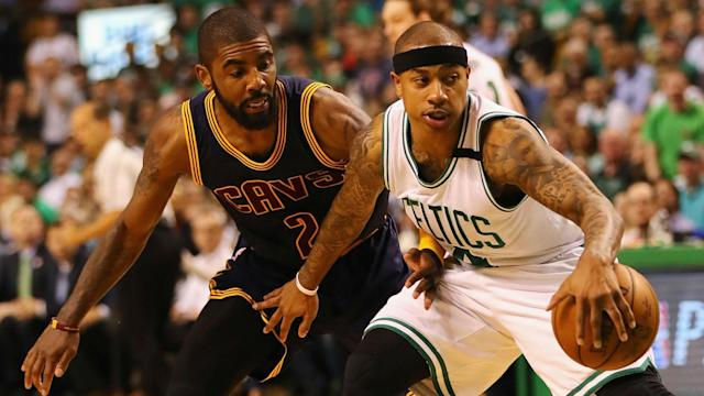 Kyrie Irving and Isaiah Thomas compete during the East finals.