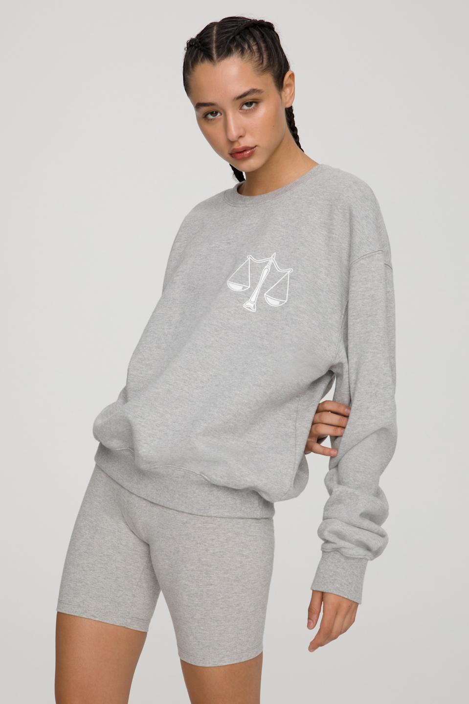 The Libra Zodiac Sweat Set by Good American. Sweatshirt, $124 and sweatpants, $105.