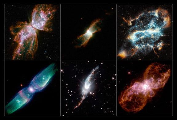 This mosaic shows a selection of stunning images of bipolar planetary nebulae taken by Hubble. Row 1 (from upper left): NGC 6302, NGC 6881, NGC 5189 Row 2 (from lower left) : M2-9, Hen 3-1475, Hubble 5. Image released Sept. 4, 2013.