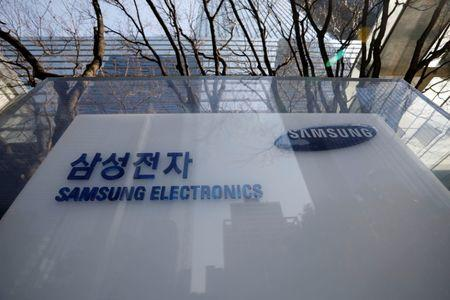 The logo of Samsung Electronics is seen at its office in Seoul
