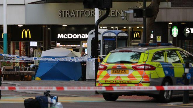 The scene at Stratford Centre after the stabbing (PA)