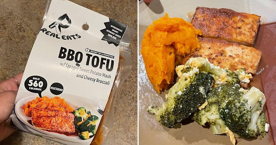 """<p>The BBQ Tofu was by far my favorite meal. The tofu was sweet and delicious with flavor packed in every bite, the sweet potatoes had a great texture to them, and the broccoli was good! While it claimed to be """"cheesy broccoli,"""" the cheese didn't really melt over the broccoli as I'd hoped, but overall, it was a standout for me.</p>"""