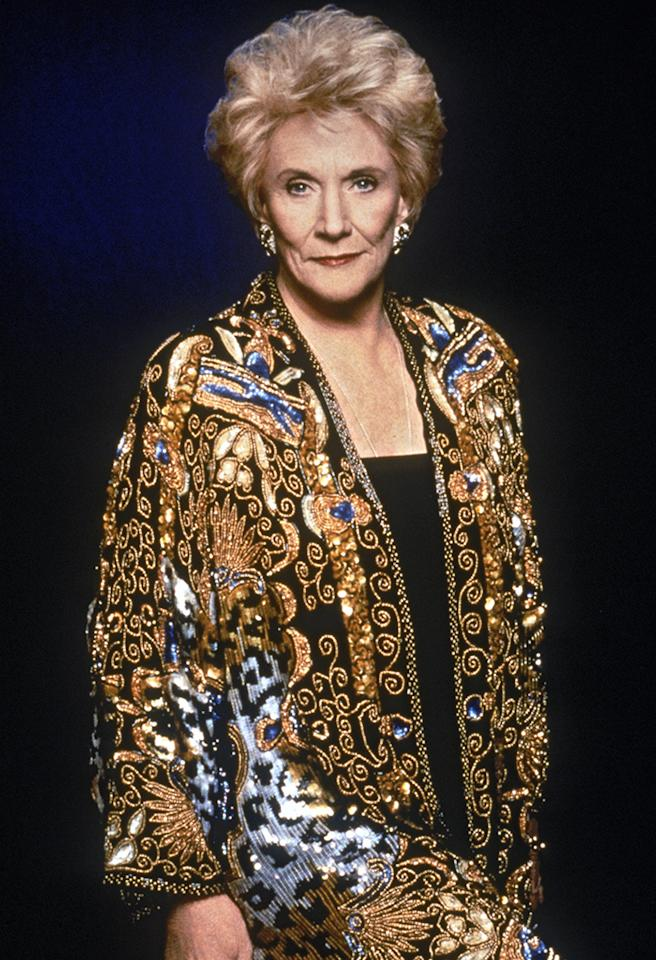 American actress Jeanne Cooper stars as Katherine Chancellor in the long-running American TV soap 'The Young and the Restless', circa 1990. She is wearing an evening jacket with gold embroidery. (Photo by Fotos International/Archive Photos/Getty Images)
