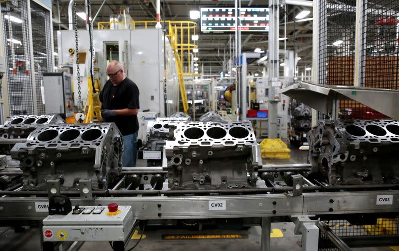 FILE PHOTO: Engine casting blocks, used in a variety of General Motors cars, trucks and crossovers, move down the assembly line at the GM Romulus Powertrain plant in Romulus,