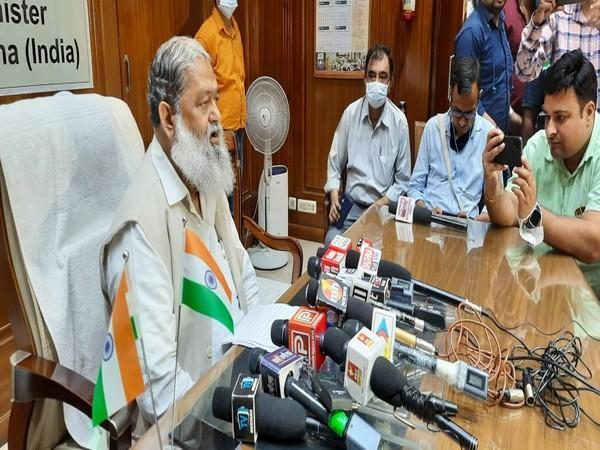 Haryana Health Minister Anil Vij at the press conference on Wednesday.