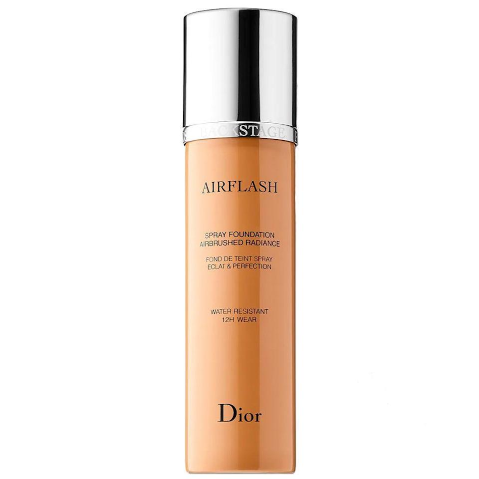 """<p><strong>Dior</strong></p><p>sephora.com</p><p><strong>$62.00</strong></p><p><a href=""""https://go.redirectingat.com?id=74968X1596630&url=https%3A%2F%2Fwww.sephora.com%2Fproduct%2Fdiorskin-airflash-spray-foundation-P104914&sref=https%3A%2F%2Fwww.bestproducts.com%2Fbeauty%2Fg37048952%2Fdewy-foundations%2F"""" rel=""""nofollow noopener"""" target=""""_blank"""" data-ylk=""""slk:Shop Now"""" class=""""link rapid-noclick-resp"""">Shop Now</a></p><p>Don't you wish you could just spray-paint your makeup on? Well, now you can thanks so this innovative dewy foundation from Dior. This featherweight foundation gives your skin an airbrushed look for up to 12 hours guaranteed.<br><br>Its water-resistant formula provides buildable full coverage on your skin and leaves behind a velvety-smooth feel that'll last all day long. </p>"""