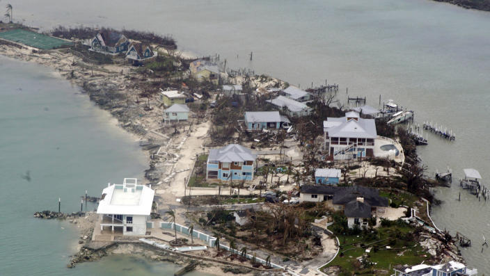 In this USCG handout image, an aerial view of houses in the Bahamas from a Coast Guard Elizabeth City C-130 aircraft after Hurricane Dorian shifts north Sept. 3, 2019.  Hurricane Dorian made landfall Saturday and intensified into Sunday. (Photo: Adam Stanton/US Coast Guard  via Getty Images).