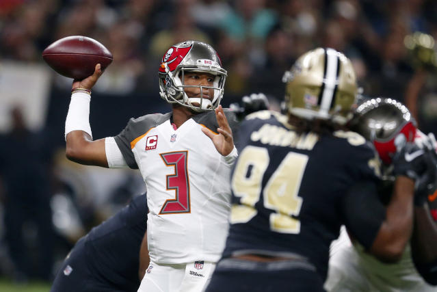 "<a class=""link rapid-noclick-resp"" href=""/nfl/teams/tam/"" data-ylk=""slk:Tampa Bay Buccaneers"">Tampa Bay Buccaneers</a> quarterback <a class=""link rapid-noclick-resp"" href=""/nfl/players/28389/"" data-ylk=""slk:Jameis Winston"">Jameis Winston</a> tried to fire up his teammates before a game against the Saints. (AP)"