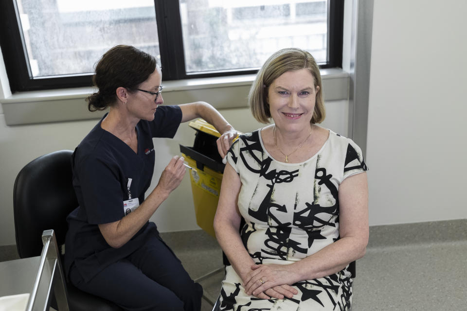 New South Wales Chief Health Officer Kerry Chant receives the AstraZeneca vaccine at at St George Hospital in Kogarah on March 10, 2021 in Sydney, Australia.