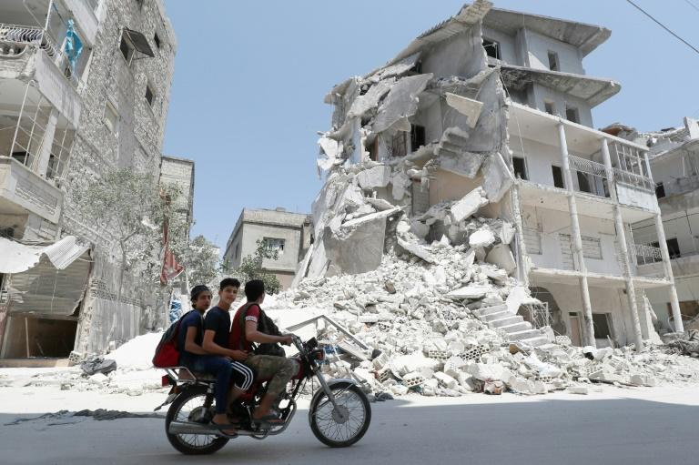 Air strikes stopped in Syria's Idlib from Friday after the government announced a truce, but resumed on Monday (AFP Photo/Omar HAJ KADOUR)