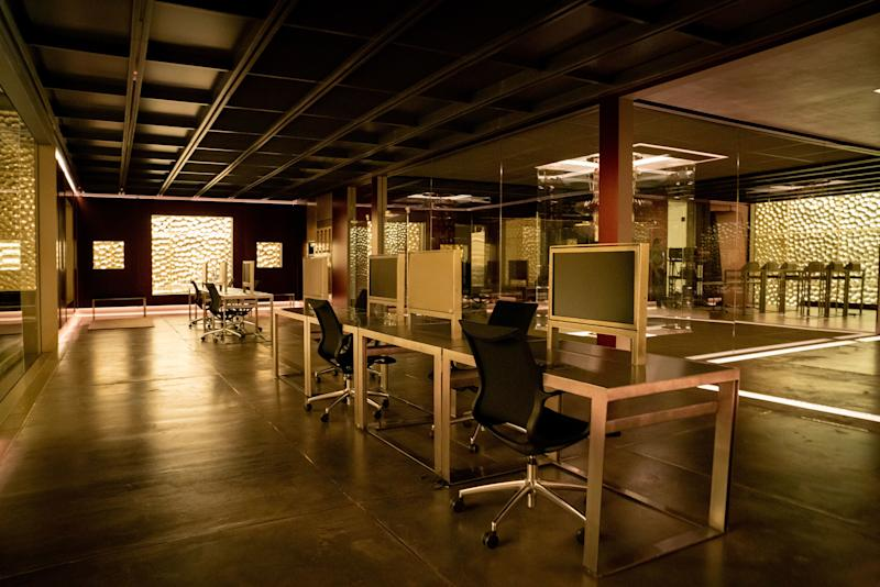 The lab interior, with its custom-designed workspaces.