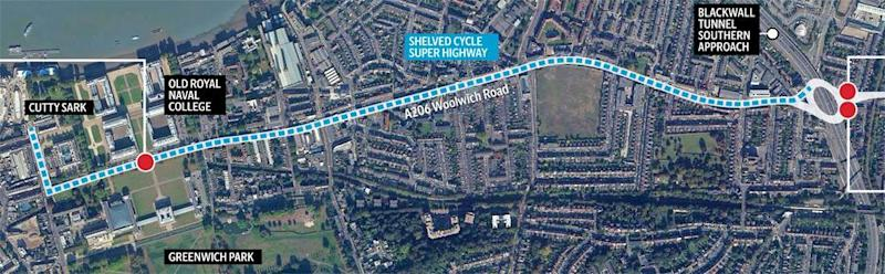 A graphic of the stretch of road where the two cyclists collided with HGVs