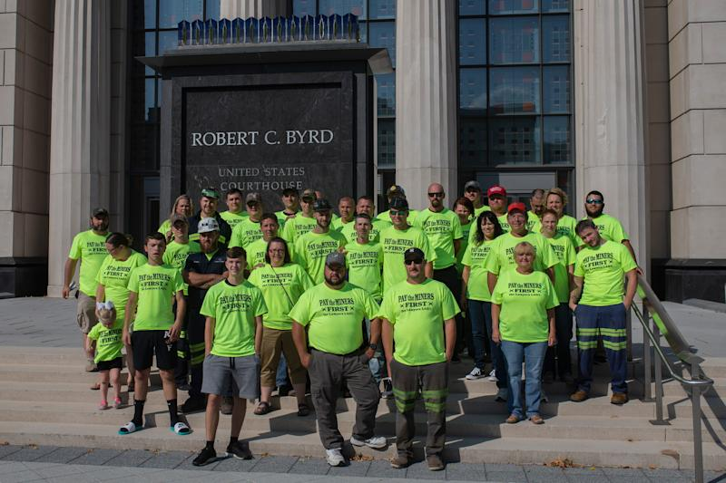 About 50 former Blackjewel miners drove four hours from Harlan County, Ky., to the Robert C. Byrd Federal Courthouse in Charleston, W.Va., to attend the Blackjewel coal company bankruptcy court hearing Monday.