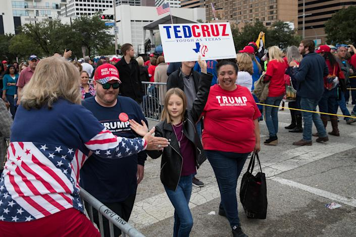 People wait in line hours before President Trump's Oct. 22 rally in support of Sen. Ted Cruz in Houston. (Photo: Loren Elliott/Getty Images)