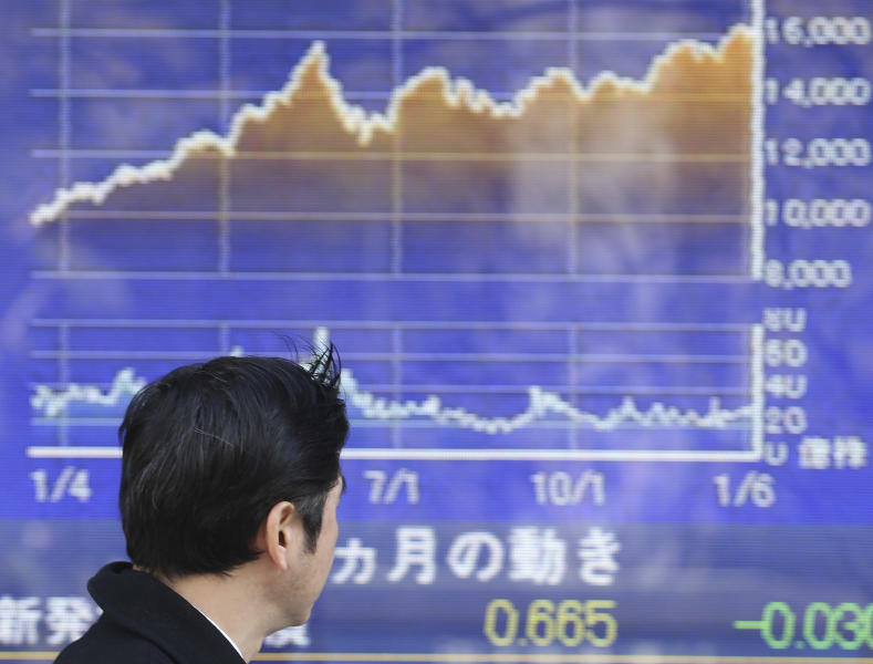 A man looks at an electronic stock board of a securities firm in Tokyo, Tuesday, Jan. 14, 2014. Most Asian stock markets sank Tuesday, led by Japan, following a big sell-off in the U.S. (AP Photo/Koji Sasahara)