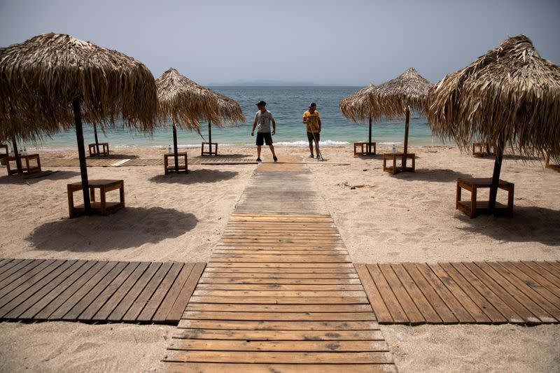 FILE PHOTO: Greece prepares for the official opening of beaches to the public, following the easing of measures against the spread of the coronavirus disease (COVID-19)