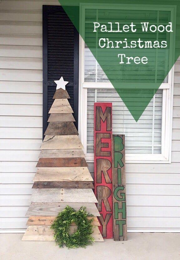 """<p>The perfect addition to homespun Christmas decor, this pallet tree turns simplicity stunning with weathered wood of different shades.</p><p><strong>Get the tutorial at <a href=""""https://overthebigmoon.com/pallet-wood-christmas-tree/"""" rel=""""nofollow noopener"""" target=""""_blank"""" data-ylk=""""slk:Over the Big Moon"""" class=""""link rapid-noclick-resp"""">Over the Big Moon</a>.</strong></p><p><strong><a class=""""link rapid-noclick-resp"""" href=""""https://www.amazon.com/Miter-Saws/b?ie=UTF8&node=552940&tag=syn-yahoo-20&ascsubtag=%5Bartid%7C10050.g.23322271%5Bsrc%7Cyahoo-us"""" rel=""""nofollow noopener"""" target=""""_blank"""" data-ylk=""""slk:SHOP MITER SAWS"""">SHOP MITER SAWS</a><br></strong></p>"""