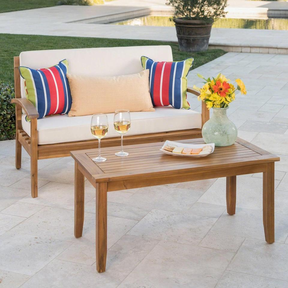 <p>Let's be real: any patio will look good with the <span>Peyton Acacia Wood Loveseat and Coffee Table Set</span> ($381) on it.</p>