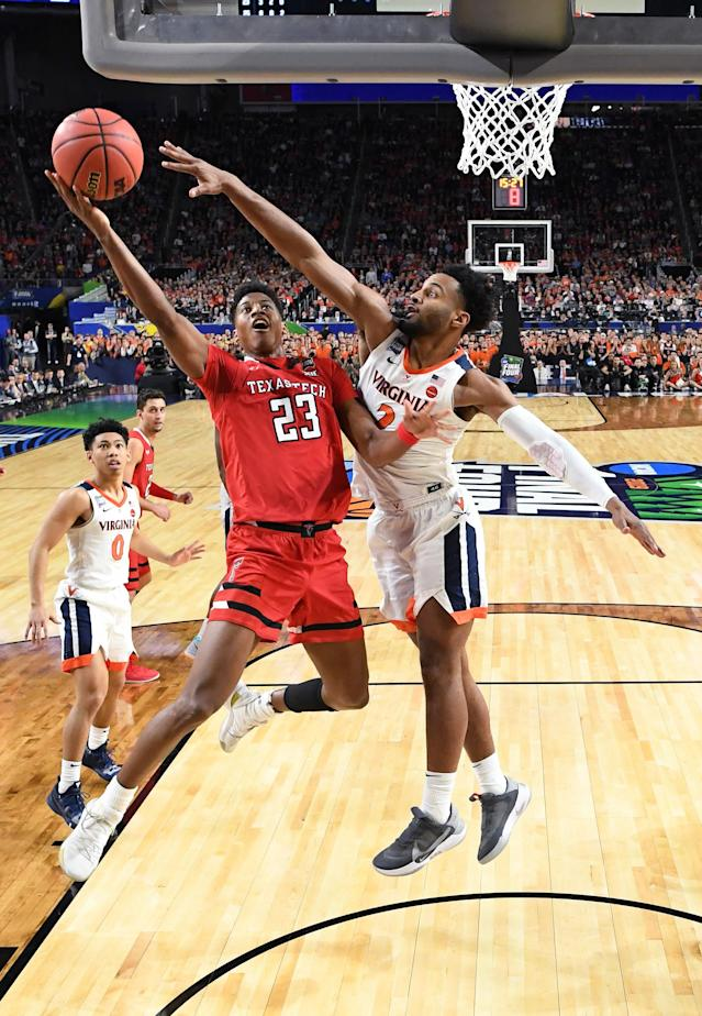 Jarrett Culver #23 of the Texas Tech Red Raiders drives to the basket against Braxton Key #2 of the Virginia Cavaliers during the second half of the 2019 NCAA men's Final Four National Championship game at U.S. Bank Stadium on April 08, 2019 in Minneapolis, Minnesota. (Photo by Brett Wilhelm/NCAA Photos via Getty Images)