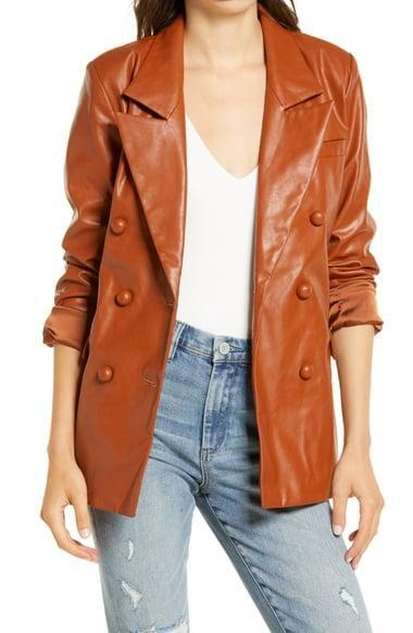 <p>Change things up with this cool <span>BLANKNYC The Nightingale Faux Leather Blazer</span> ($98).</p>
