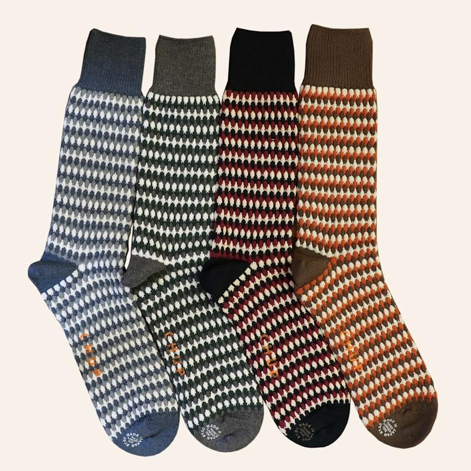 """<p>Chup is known for its elaborately patterned socks, and this cotton-blend style, available in four colors, is actually relatively simple compared to others in the collection. But that doesn't mean the craftsmanship is simple: they're hand-linked at the toes for a seamless finish, and the special knitting technique used creates a comforting three-dimensional texture.</p> <p><strong>$35</strong> (<a href=""""https://chupsocks.com/collections/all/products/nordic-forest-small?variant=22584558977082"""" rel=""""nofollow"""">Shop Now</a>)</p>"""