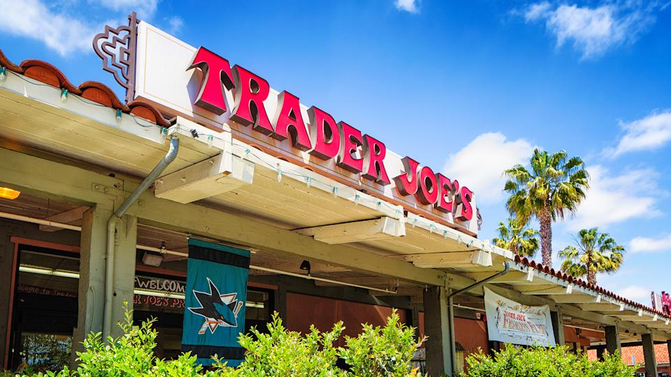 Campbell, USA - May 9, 2016: Trader Joe's grocery store in campbell California with sign above the entrance.