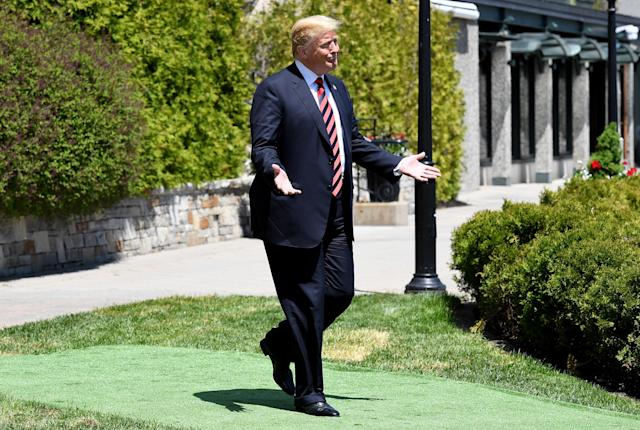 <p>President Donald Trump arrives for the G7 official welcome at Le Manoir Richelieu on day one of the G7 meeting on June 8, 2018 in Quebec City, Canada. Canada will host the leaders of the UK, Italy, the US, France, Germany and Japan for the two day summit, in the town of La Malbaie. (Photo: Leon Neal/Getty Images) </p>