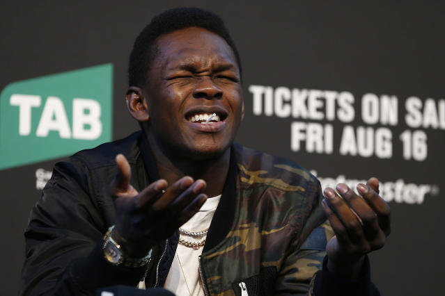 Israel Adesanya speaks during a UFC 242 press conference at Federation Square on Aug. 15, 2019 in Melbourne, Australia. (Getty Images)