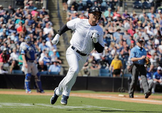 Troy Tulowitzki homered in his first spring training at-bat as a member of the New York Yankees. (AP)