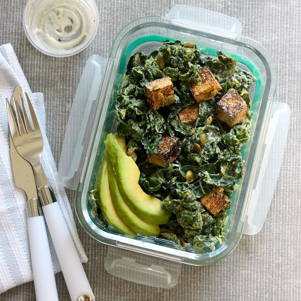 <p>Swapping tofu for the bread in these meal-prep Caesar salad bowls bumps up the satiety factor with 18 grams of protein. These crispy tofu croutons originally appeared in Lauren Grant's recipe for Diabetic Living magazine (see Associated Recipes). Lacinato kale, also known as dinosaur kale or Tuscan kale, has flat, dark green-blue leaves--and its tenderness makes it perfect for eating raw, like in this salad.</p>