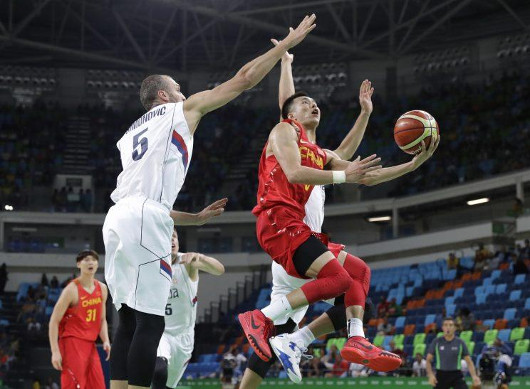 Guo Ailun played against top NBA talent in 2010 in a scrimmage against the U.S. national team in New York. (AP)