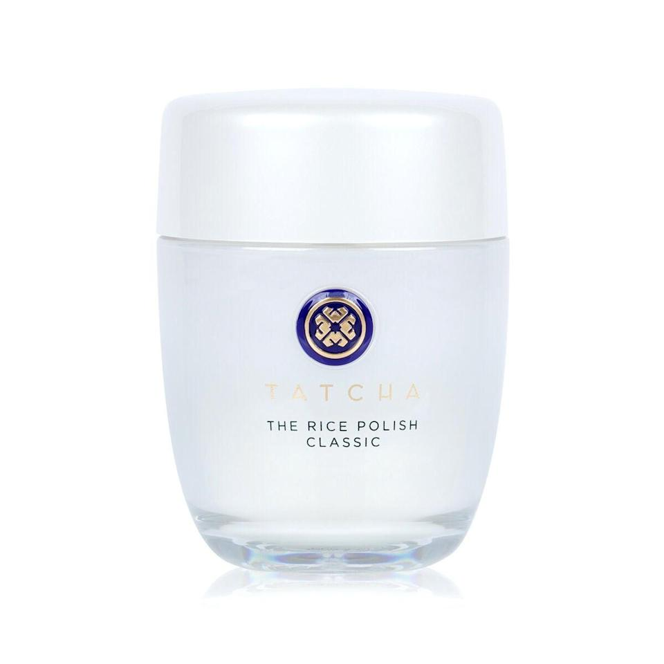 """<h3>The Rice Polish<br></h3><br>This Meghan Markle-approved face exfoliator is one of Tatcha's bestsellers for good reason: It gently sloughs dead skin cells for instantly softer skin, and one jar lasts you longer than you think.<br><br><br><strong>Tatcha</strong> The Rice Polish, $, available at <a href=""""https://go.skimresources.com/?id=30283X879131&url=https%3A%2F%2Ffave.co%2F2I57rWh"""" rel=""""nofollow noopener"""" target=""""_blank"""" data-ylk=""""slk:Tatcha"""" class=""""link rapid-noclick-resp"""">Tatcha</a>"""