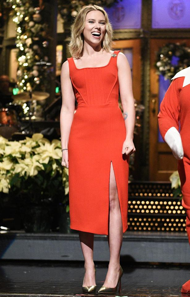 """Red dress (Scarlett Johansson's is David Koma) and gold pumps? Doesn't get more classic - or festive! - than that.  <strong>Get the look!</strong>  David Koma David Koma Virgin Wool Sleeveless Midi Dress, $598 (orig. $897); <a href=""""https://click.linksynergy.com/deeplink?id=93xLBvPhAeE&mid=13867&murl=https%3A%2F%2Fwww.bloomingdales.com%2Fshop%2Fproduct%2Fdavid-koma-virgin-wool-sleeveless-midi-dress%3FID%3D3485206&u1=PEO%2CLoveHerOutfit%3AHolidayPartyEdition%2Cllieberman1271%2CUnc%2CGal%2C6723569%2C201912%2CI"""" target=""""_blank"""" rel=""""nofollow"""">bloomingdales.com</a>  Naked Zebra Square Neck Midi Dress, $39.97; <a href=""""https://www.pntrac.com/t/8-10134-131940-120793?sid=PEO%2CLoveHerOutfit%3AHolidayPartyEdition%2Cllieberman1271%2CUnc%2CGal%2C6723569%2C201912%2CI&url=https%3A%2F%2Fwww.nordstromrack.com%2Fshop%2Fproduct%2F3040751%2Fnaked-zebra-square-neck-midi-dress%3Fcolor%3DRED"""" target=""""_blank"""" rel=""""nofollow"""">nordstromrack.com</a>    Reformation Mary Tank Dress, $98; <a href=""""https://click.linksynergy.com/deeplink?id=93xLBvPhAeE&mid=1237&murl=https%3A%2F%2Fshop.nordstrom.com%2Fs%2Freformation-mary-tank-dress-regular-plus-size%2F5274849&u1=PEO%2CLoveHerOutfit%3AHolidayPartyEdition%2Cllieberman1271%2CUnc%2CGal%2C6723569%2C201912%2CI"""" target=""""_blank"""" rel=""""nofollow"""">nordstrom.com</a>  Finders Keepers Lines Sheath Dress, $116.25 (orig. $155); <a href=""""https://click.linksynergy.com/deeplink?id=93xLBvPhAeE&mid=13867&murl=https%3A%2F%2Fwww.bloomingdales.com%2Fshop%2Fproduct%2Ffinders-keepers-lines-sheath-dress%3FID%3D3367136&u1=PEO%2CLoveHerOutfit%3AHolidayPartyEdition%2Cllieberman1271%2CUnc%2CGal%2C6723569%2C201912%2CI"""" target=""""_blank"""" rel=""""nofollow"""">bloomingdales.com</a>  Vesper square neck pencil dress in red, $83; <a href=""""https://click.linksynergy.com/deeplink?id=93xLBvPhAeE&mid=35719&murl=https%3A%2F%2Fwww.asos.com%2Fus%2Fvesper%2Fvesper-square-neck-pencil-dress-in-red%2Fprd%2F9564304&u1=PEO%2CLoveHerOutfit%3AHolidayPartyEdition%2Cllieberman1271%2CUnc%2CGal%2C6723569%2C2019"""