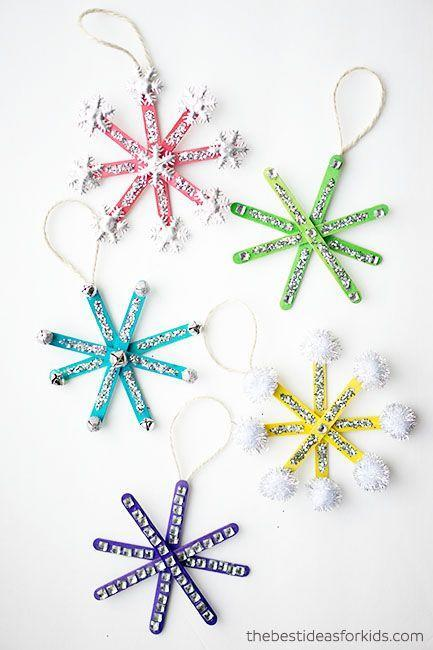 "<p>Parents can help assemble popsicle sticks using hot glue. Kids get to do the fun part: decorate their unique snowflakes anyway they like. Glitter, jingle bells, pompoms and stickers add pizzazz. Use twine to hang.</p><p><em><a href=""https://www.thebestideasforkids.com/popsicle-stick-snowflake-ornaments/"" rel=""nofollow noopener"" target=""_blank"" data-ylk=""slk:Get the tutorial at The Best Ideas for Kids»"" class=""link rapid-noclick-resp"">Get the tutorial at The Best Ideas for Kids»</a></em><br></p>"