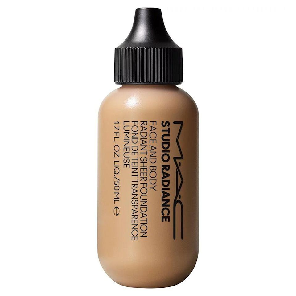 """<p><strong>MAC</strong></p><p>ulta.com</p><p><strong>$33.00</strong></p><p><a href=""""https://go.redirectingat.com?id=74968X1596630&url=https%3A%2F%2Fwww.ulta.com%2Fp%2Fstudio-radiance-face-body-radiant-sheer-foundation-pimprod2023387&sref=https%3A%2F%2Fwww.bestproducts.com%2Fbeauty%2Fg30744763%2Fleg-makeup-products%2F"""" rel=""""nofollow noopener"""" target=""""_blank"""" data-ylk=""""slk:Shop Now"""" class=""""link rapid-noclick-resp"""">Shop Now</a></p><p>We're just as obsessed with this body and face foundation as Greenberg is. This wonderful little bottle holds a sheer, buildable finish with just a touch of radiance to make you look dewy (<em>not </em>greasy) from head to toe.</p><p>Going poolside? No worries, because this foundation is waterproof and lasts up to 8 hours without smudging, fading, or streaking. Its formula also doesn't cause acne, and it's even great for sensitive skin types to enjoy. </p><p>This pick also comes in a whopping 30 shades to choose from, so you'll always be able to pick out your match for your skin tone instantly!</p>"""