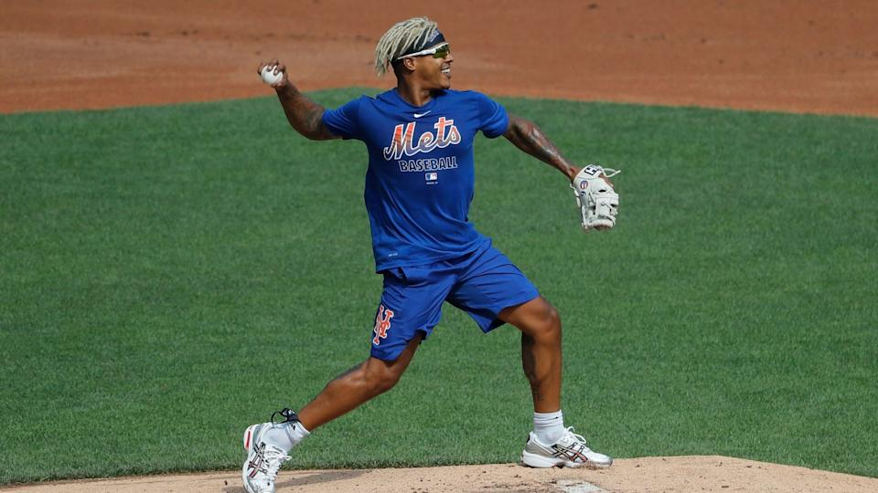 Mandatory Credit: Photo by Seth Wenig/AP/Shutterstock (10702422m)New York Mets starting pitcher Marcus Stroman participates in a baseball workout at Citi Field, in New YorkMets Baseball, New York, United States - 05 Jul 2020.