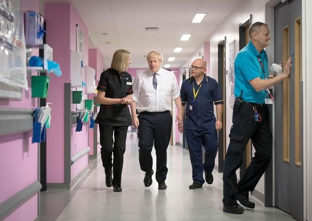 Mr Johnson visiting staff and nurses at King's Mill Hospital in Ashfield