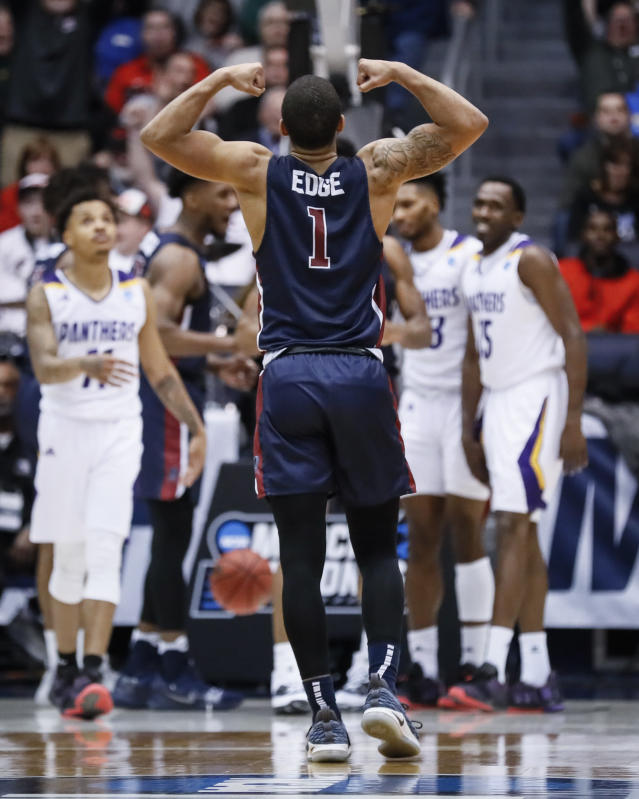 Fairleigh Dickinson's Darnell Edge (1) reacts during the second half of a First Four game of the NCAA college basketball tournament against Prairie View A&M, Tuesday, March 19, 2019, in Dayton, Ohio. (AP Photo/John Minchillo)