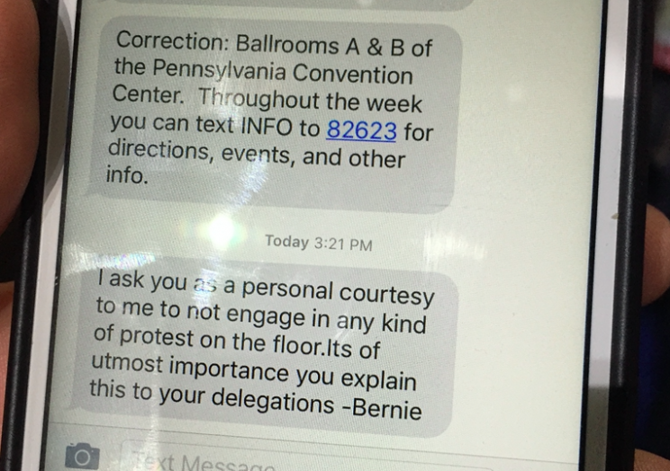 A text message sent to Sanders delegates