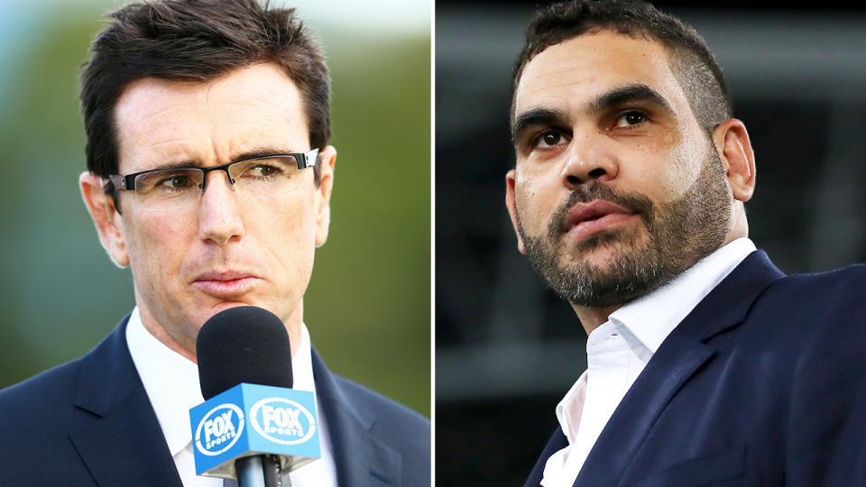 Greg Inglis and Ben Ikin, pictured here during NRL games.