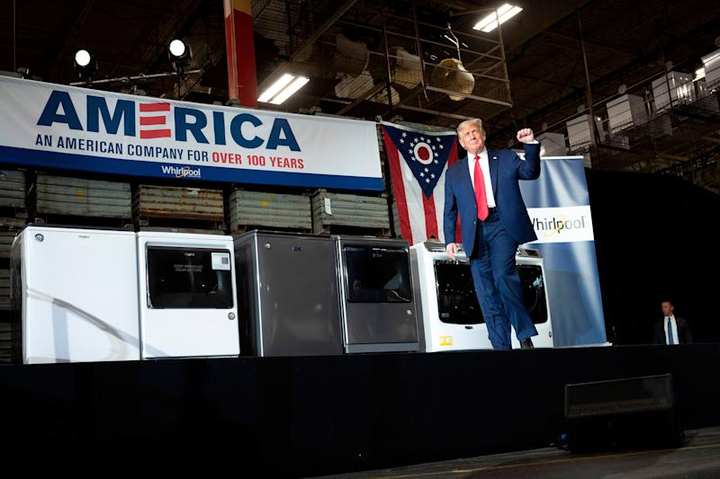 President Donald Trump arrives to deliver remarks after touring a Whirlpool manufacturing plant in Clyde, Ohio, on Thursday. (JIM WATSON/AFP via Getty Images)